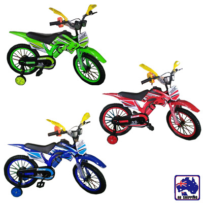 12'' 16'' Kids Cool Motocross BMX Style Bike Bicycle Pedal Red Blue Green OOC021