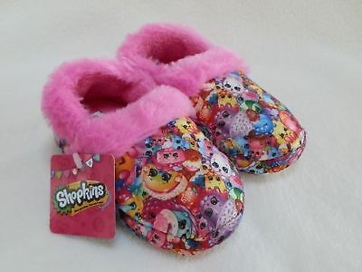 NEW Shopkins Pink Plush All-Over Print Fuzzy Slippers House Shoes Girls size 7/8