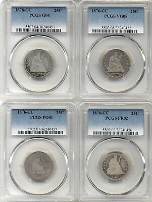 Lot of 4 1876-CC PCGS Graded Silver Seated Liberty Quarters PO01-VG08 Conditions