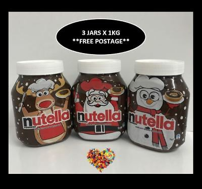 Nutella 1Kg Xmas  X 3 Jars Includes Santa Reindeer Snowman Christmas Gift Ideas