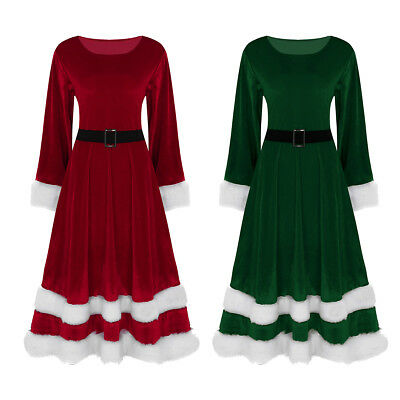 Women's Ladies Long Sleeves Mrs Santa Claus Costume Christmas Fancy Dress Outfit