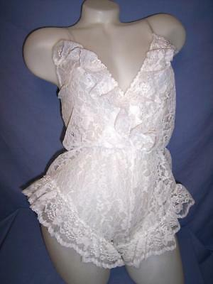 "VTG ""VAL MODE"" SHEER WHITE FLORAL LACE  -POLYESTER- SLEEPWEAR TEDDY sz: S"