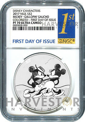Disney Mickey Through The Ages: Gallopin' Gaucho - Ngc Pf70 First Day Of Issue