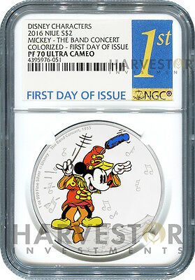Disney Mickey Through The Ages - The Band Concert - Ngc Pf70 First Day Of Issue