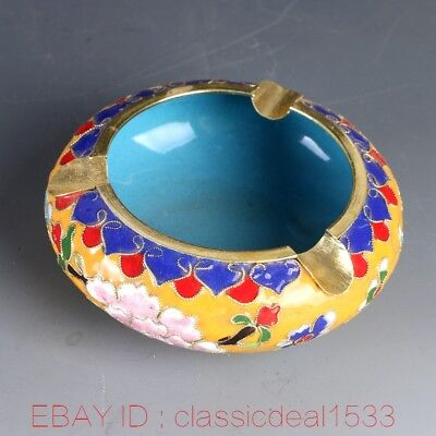 Exquisite Chinese Cloisonne Handwork Carved Flower Ashtray MY0075
