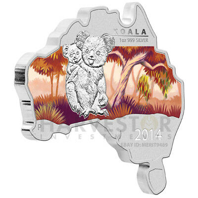 2014 Australian Map Shaped Coin - Koala - Silver Proof - Only 6000 - W/ogp & Coa
