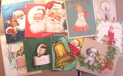 LOT of 10 vintage greeting cards all Christmas 1940s 1950s, Santas, puppies