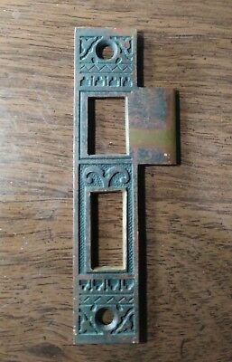 ANTIQUE ORNATE BRASS MORTISE LOCK STRIKE PLATE Vintage 1880s Door Latch PATINA!