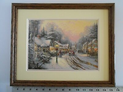 Thomas Kinkade VILLAGE CHRISTMAS framed 11X14 n