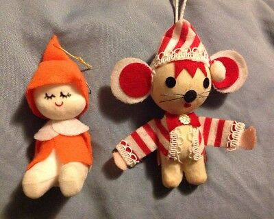 Pair Of Two Vintage Cloth Christmas Ornaments Elf And Mouse