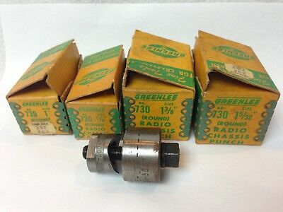 """Vtg. Lot Of 4 Greenlee 730 Radio Chassis Knock Out Punch  1-38, 1-5/32, 1"""",  5/8"""