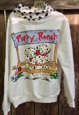 Vtg 90s Puppy Ranch Sweatshirt Girls Vtg Sz M 5-6 Basic Editions NEW W/FLAWS L7