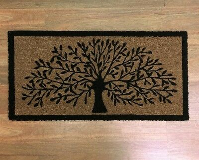 LARGE DOORMAT DOOR MAT TREE OF LIFE OUTDOOR FRONT RUG COCONUT FIBRE 90 x 45cm