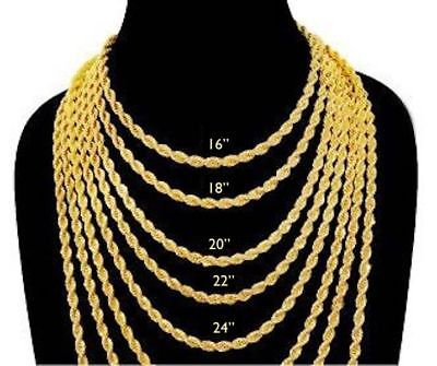 Chain IP Gold 18K Deep Plated Necklace Stainless Steel Rope 4 mm Women Men