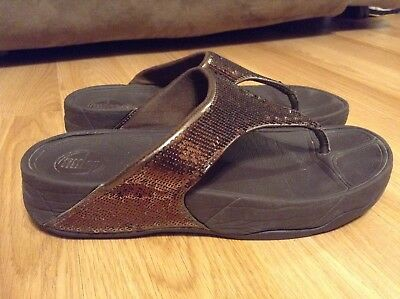 59aa0239d12af6 FITFLOP SIZE 8 ELECTRA Purple Sequin Thong Sandals Shoes -  49.99 ...