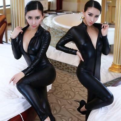 Women Sexy Lingerie Deep V Spandex Latex PVC Catsuit Costume Jumpsuit Black Club