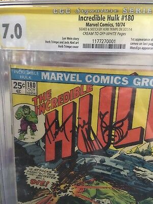 Incredible Hulk #180 Cgc-Ss 7.0 Signed Sketched Trimpe *1St Wolverine App 1974