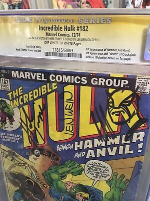 Incredible Hulk #182 Cgc 2.5 Signed Len Wein Sketched Trimpe Wolverine Stan Lee