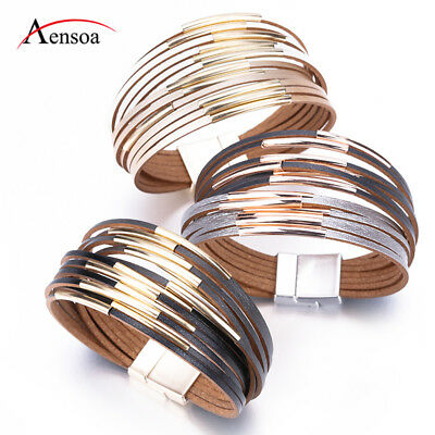 New Jewelry Gold Silver Multi-layer Leather Bangle Wrap Cuff Bracelets For Women