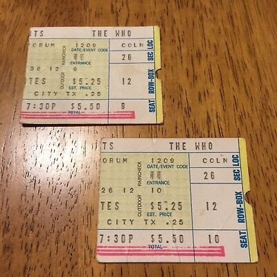 The Who Concert Ticket Stubs (2-used) 12/9/1971
