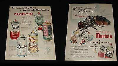 MORTEIN + PRESSURE PAKS 2 x 1950s LARGE COLOUR ADVERTS Retro Can art GOSSAMER +