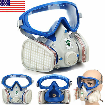 Full Face Protection Respirator Mask Double Filter Air Breathing Chemical