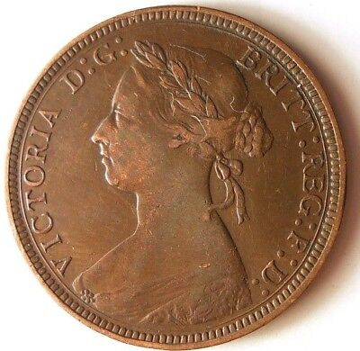 1885 GREAT BRITAIN 1/2 PENNY - Strong Coin - Great Detail - FREE SHIP - HV34