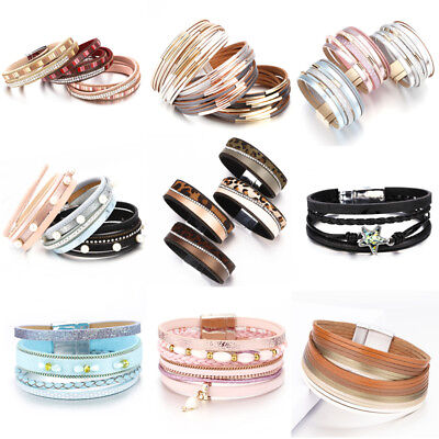 New Women Gold Silver Pearl Multi-layer Leather Bangle Charm Wrap Cuff Bracelets