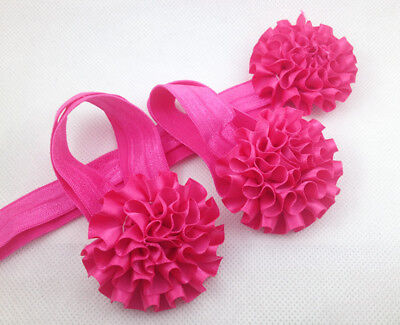 1set/3Pcs rose Baby Infant Headband Foot Flower Elastic Hair Band Accessories