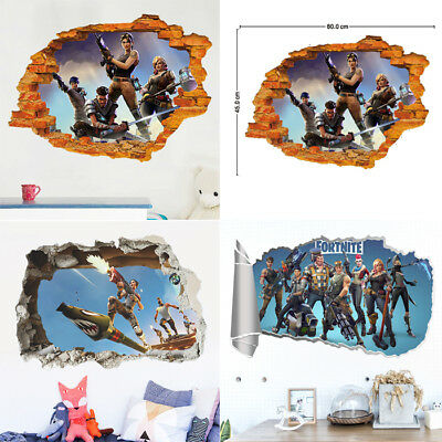 Fortnite Characters Game 3d Smashed Hole Wall View Sticker Poster Mural Ar