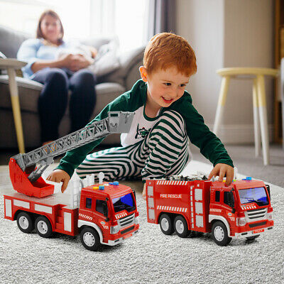 Toy Fire Truck Lights and Sounds with Extending Ladder Friction Rolling for kids