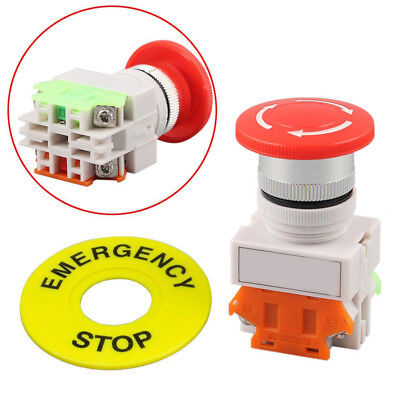 Sale Red Mushroom Cap 1NO+1NC DPST Poles Emergency Stop Push Button Switch 660V