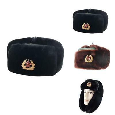AUTHENTIC RUSSIAN ARMY Winter Ushanka Hat + Badge Red Star with ... 3100a8f5ec81
