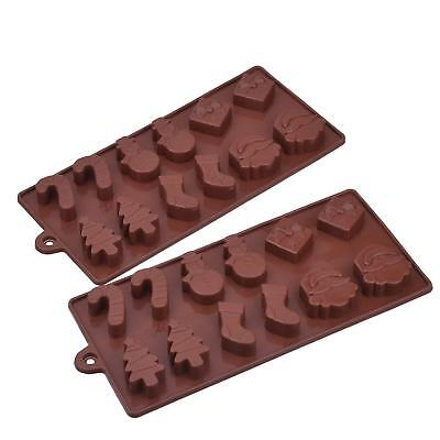 X2 Silicone christmas mould wax melt, sugar craft, ice cube moulds
