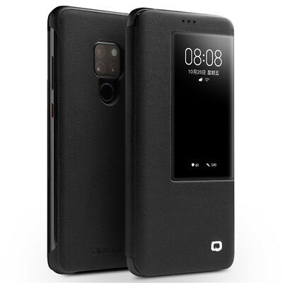 QIALINO View Window Cowhide Leather Smart Cover for Huawei Mate 20