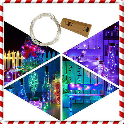 1X 10X LED Cork Shaped LED Copper Wire String Light Wine Bottle For Xmas HOL494