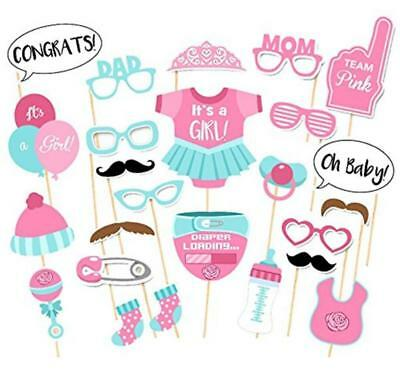 25pcs Baby Shower Photo Booth Props Boy girls Mister New Born Party Decoration C
