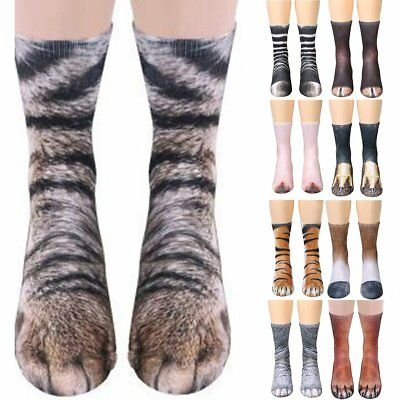 Funny Unisex Adult/Kids Elastic Sock Animal Paw Feet Crew 3D Print Foot Socks