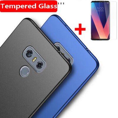 For LG V30 V20 G6 G5 G7 Q6 K10 2018 Matte Slim Hard Case Cover + Tempered Glass