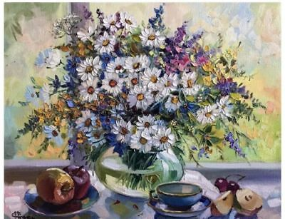 Oil Painting Floral, Flowers On Table 16x20inch Still Life