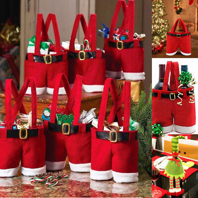 Santa Pants Christmas Candy Bags Wine Stocking Bottle Gift Bag Xmas Decorations