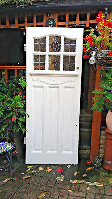 Original Antique Reclaimed 1920's Edwardian Stained Glass Solid Front Door