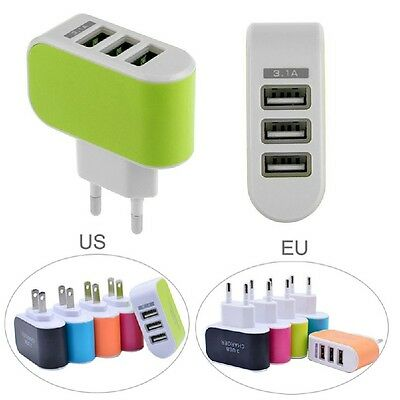 Lot of Universal Triple USB 3 Port Wall Home Travel AC Charger Adapter 3 QA