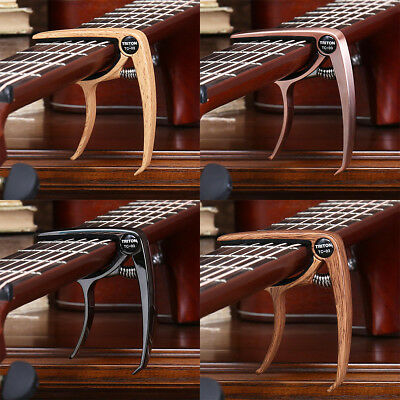 Guitar Capo for Acoustic or Electric Guitar Dark Wood Quick Change Grain Clamp