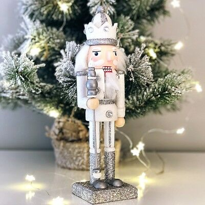 25Cm Silver Nutcracker Soldier Doll Traditional Christmas Decoration Xmas Decor