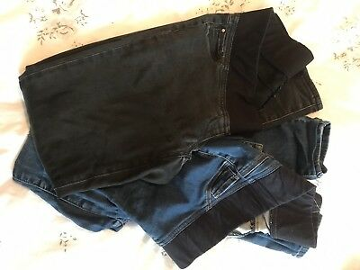 Next Maternity Denim Leggings Size 12 One Black Pair And One Blue Pair