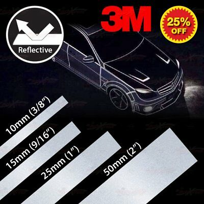 Various Waterproof Reflective PinStripe Vinyl 3M Decal Tape Sticker SILVER WHITE