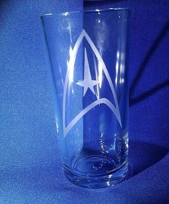 STARFLEET  COMMAND DIVISION BADGE Etched On A Half Pint Glass