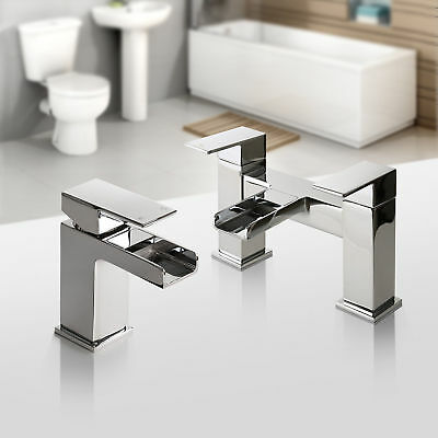 Waterfall Square Chrome Bathroom Taps Set - Basin Mono & Bath Filler Mixer Tap