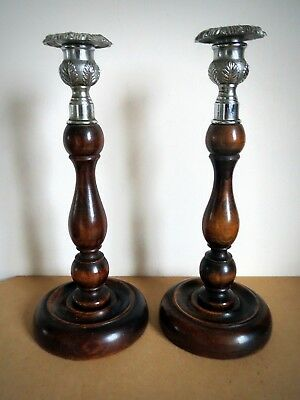 """Pair of vintage oak candlesticks with chased metal removeable sconces, 10"""" tall"""